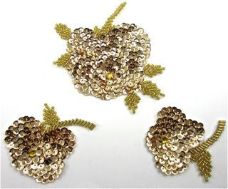 "Flower Set of Three  with Gold Sequins 6"" x 3"""