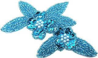 Flower with Turquoise Sequins and Beads