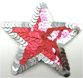 "Star with Flourescent Pink and Silver Sequins 3"" x 3"""