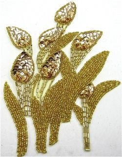 "Flower with Gold Sequins and Beads 6.5"" x 8.5"""
