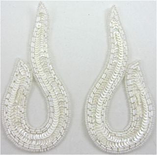"Design Motif Pair with White Sequins and White Beads 5"" x 2.5"""
