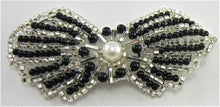 "Load image into Gallery viewer, Bow Black and Silver Beaded with Pearl 1.5"" x 3"""