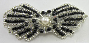 "Bow Black and Silver Beaded with Pearl 1.5"" x 3"""