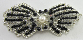 "Bow Black and Silver with Pearl 1.5"" x 3"""