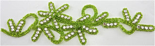 "Flower with Lime Green Beads and Rhinestones 8"" x 3"""