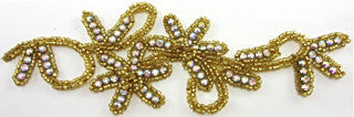 "Flower with Gold Beads and AB Rhinestones 8"" x 3"""