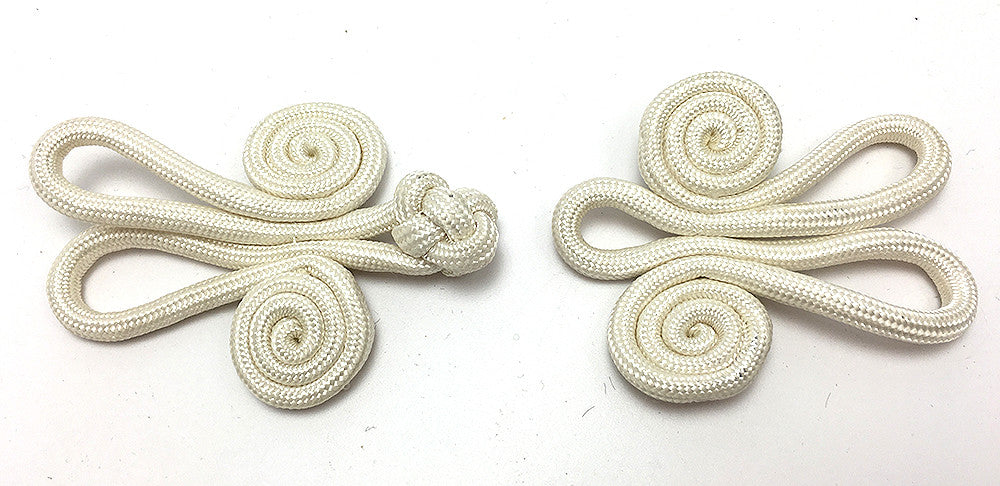 Frog Closure, White Braided Cloth  4