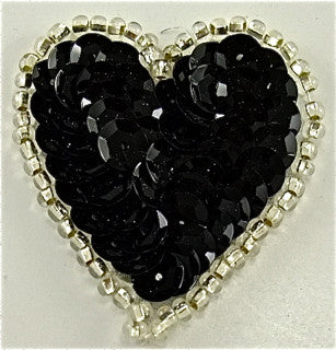 Heart Black with Silver Trim 1.5""