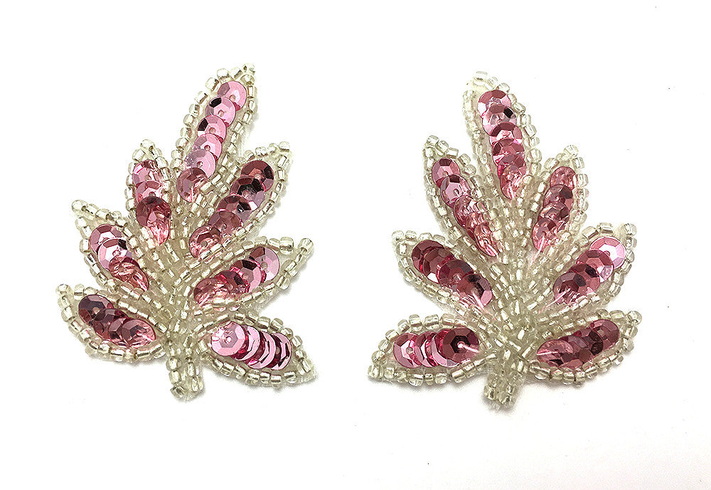 "Leaf Pair with Choice of Pink or Red Sequins and Silver Beads 1.5"" x 2"""