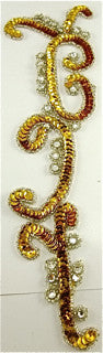 Designer Motif with Bright Gold Beads and Rhinestones 8