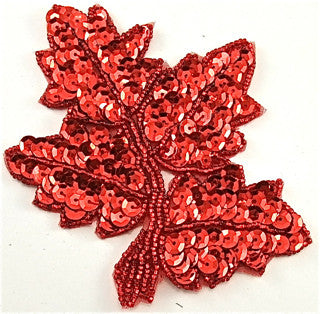 "Leaf with Red Sequins and Beads 4"" x 4.5"""