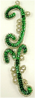 "Designer Motif with Green Beads and  High Quality Rhinestones 6.5"" x 2"""