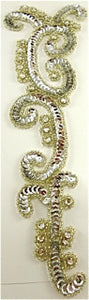"Designer Motif with Silver Beads and Rhinestones 10.5"" x 3"""