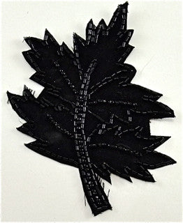 "Leaf Black Sequins and Beads 3.5"" x 4.5"""