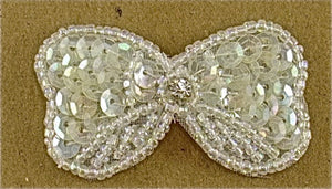 "Bow Iridescent  Sequins and Beads with Rhinestone 2"" x 1"""