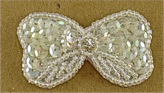 Bow Iridescent  Sequins and Beads with Rhinestone 2