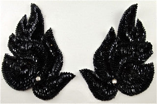 "Leaf Pair with Black Sequins and Acrylic Rhinestone 4"" x 6.5"""