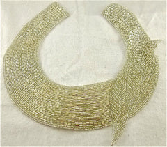 "Designer Motif Neck Line with Silver and Gold Beads and Silver Beads  10"" x 10"""