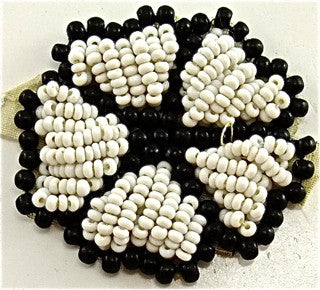 Flower with Black and White Beads