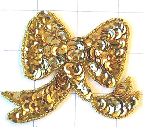 "Bow with Gold Sequins and Beads 3"" x 2.75"""