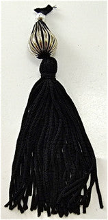 Tassel Black with Silver Bead 1.4""
