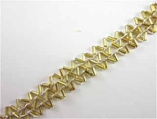 Trim with Three Rows of ZigZag Gold Beads 1/5""