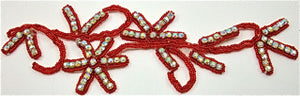 "Flower with Red Beads and AB Rhinestones 8.5"" x 2.5"""