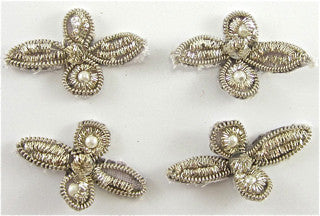 "Bullion Set of Four Flowers with Pearls  1.25"" X 1"""