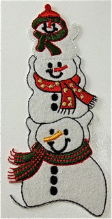 "Snowman Friends Embroidered 4.5"" x 1.75"""