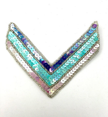 "Chevron with Southwestern Color Sequins and Beads 5.25"" x 4.25"""
