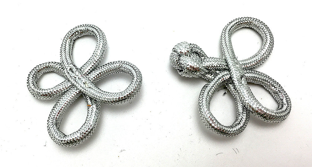 Frog Closure Metallic Silver Rope 1.75