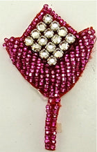 "Load image into Gallery viewer, Designer Motif with Fuchsia Beads and  16 Rhinestones 1.5"" x 2.5"""