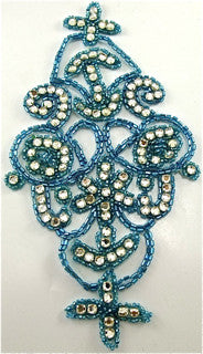 "Designer Motif with Turquoise Beads and High Quality Rhinestones 7.5"" x 4"""