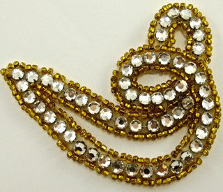 "Designer Motif with Gold Beads and HIGH QUALITY Rhinestones 3"" x 3.5"""