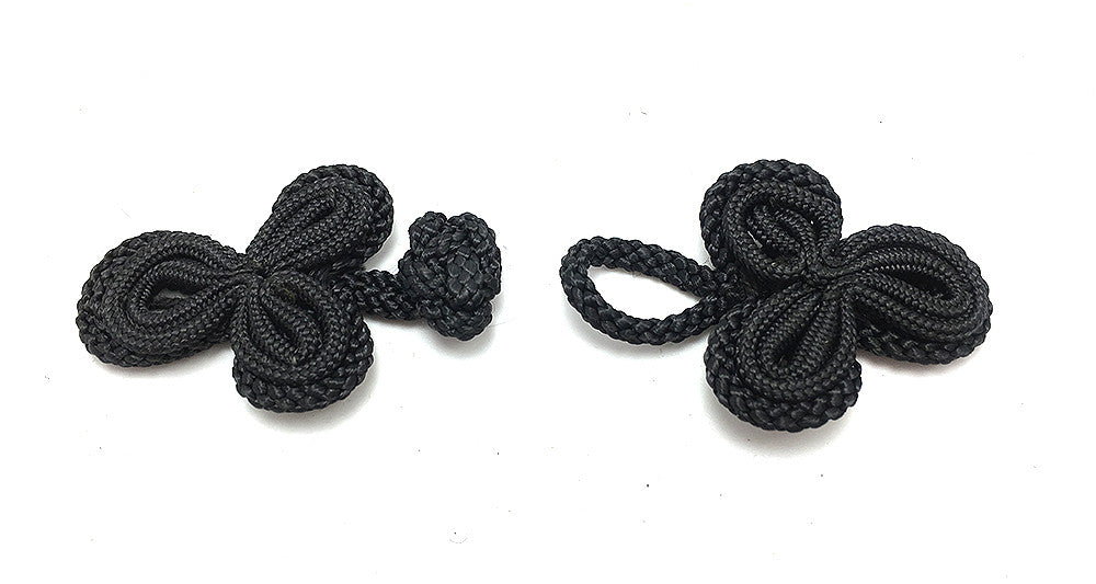 "Frog Closure Black Rope with Thinner Rope Inlay  1.5"" x 1.25"""