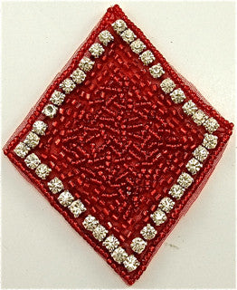 "Diamond with Red Beads and 40 Rhinestones 3.5"" x 3"""