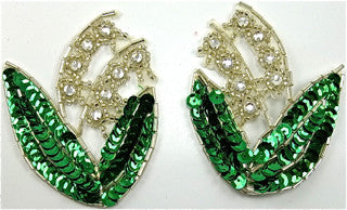 "Flower Pair with Emerald Green Sequins and Rhinestones 2.5"" x 3.5"""