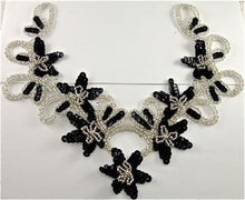 "Load image into Gallery viewer, Flower Neckline Custom Made Black Sequins Silver Beads and Rhinestones  10"" x 9.5"""