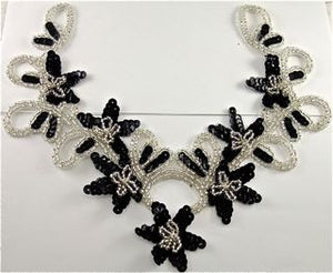 "Flower Neckline Custom Made Black Sequins Silver Beads and Rhinestones  10"" x 9.5"""