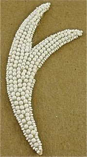 "Design Motif White Tail with Large Beads 5"" x 2"""