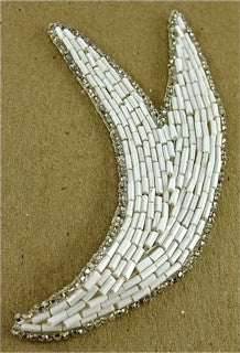 "Design Motif White Bead Tail with Silver Trim 5"" x 2"""