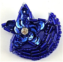 "Load image into Gallery viewer, Star with Royal Blue Beads and Sequins Half Moon 1.5"" x 1.25"