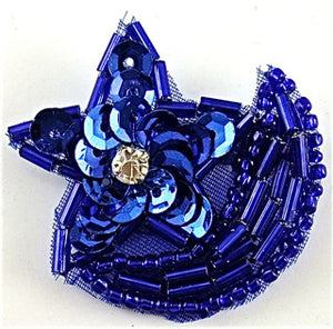 "Star with Royal Blue Beads and Sequins Half Moon 1.5"" x 1.25"
