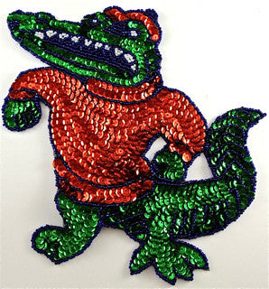 Alligator large with Red and Green Sequins and Beads 6.5 x 9""