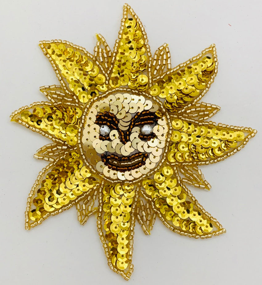 "Sun with Gold/Bronze Sequins, Beads and Rhinestones 5"" x 4.5"""