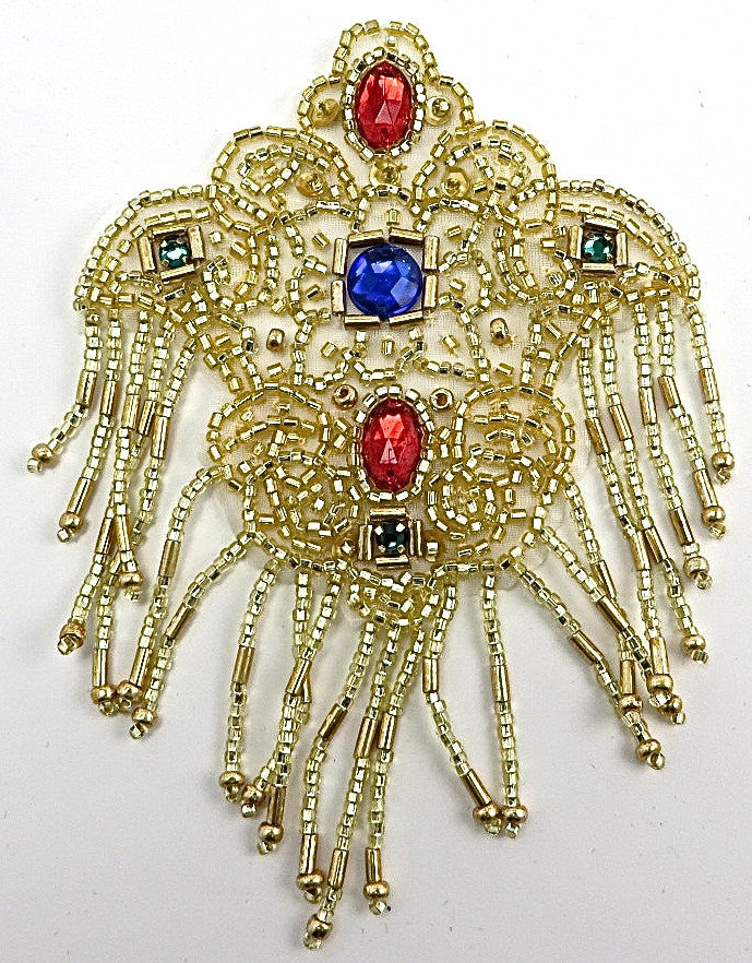 "Epaulet with Gold Beads and Jewels 4.5"" x 3"""