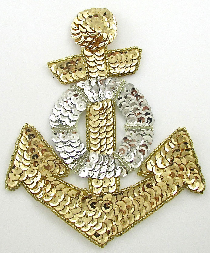 "Anchor Gold 4.5"" x 5.5"" - Sequinappliques.com"