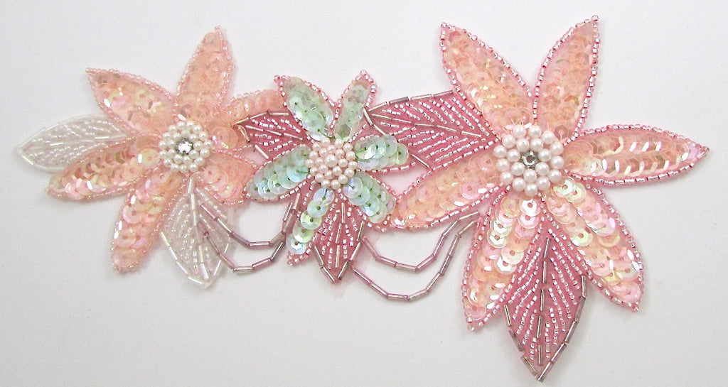 "Flower Spray with Three Flowers Pink Mint Pearls Rhinestones 8"" x 4"""