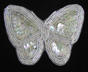 "Butterfly with Iridescent Sequins and Beads 2.5"" x 3"""