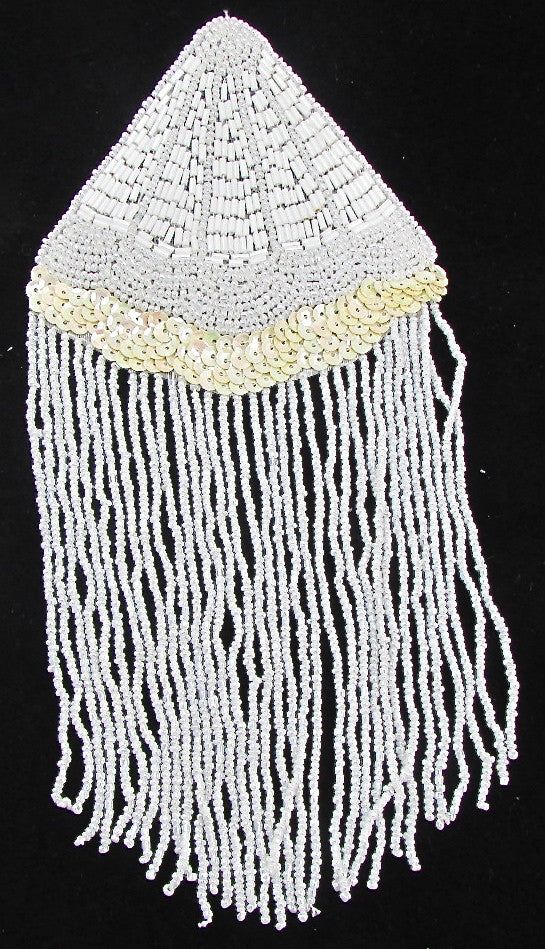 "Epaulet with White and Cream Sequins and Beads 9"" x 4.5"""